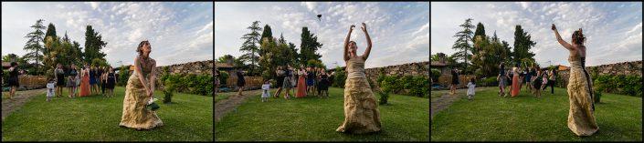 Sequenza lancio del bouquet, matrimonio Nicola e Giulia. Foto scattata a Bauladu, provincia di Oristano