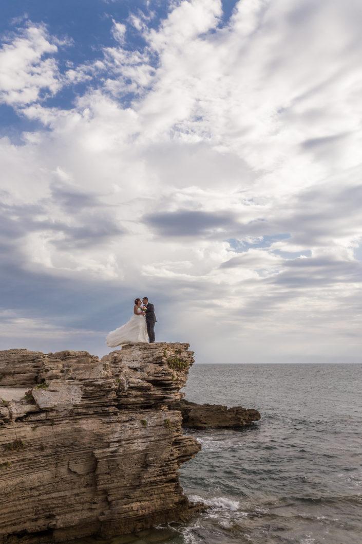 fotografia di matrimonio realizzata a Is Arutas, provincia di Oristano, Sardegna